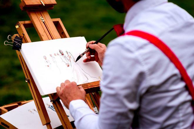 live wedding illustrator UK portrait illustration artist