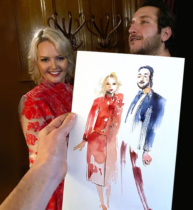 live wedding illustrator for portraits of couples