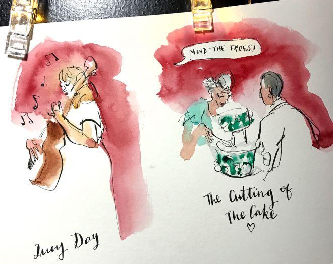 live-wedding-illustration-band-cake-cutting-artist