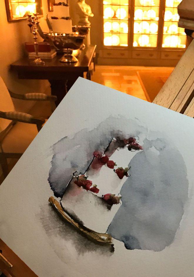 live-wedding-illustration-watercolour-painting-of-wedding-cake