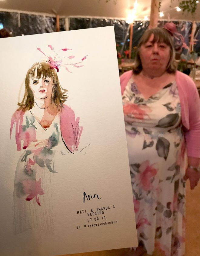 live event artist - london wedding live portrait illustrator