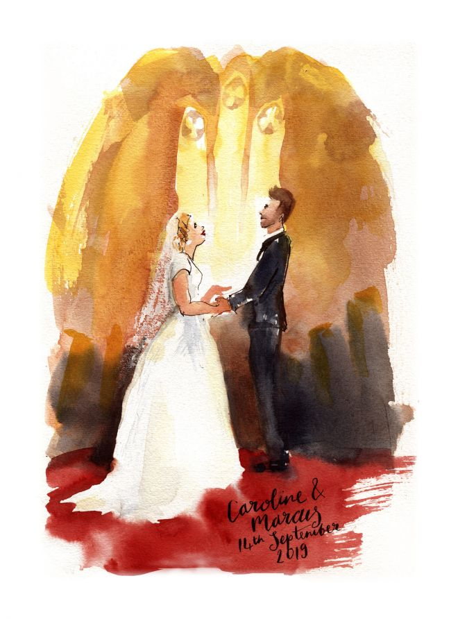 live painting of church marriage wedding ceremony uk artist watercolour sketch