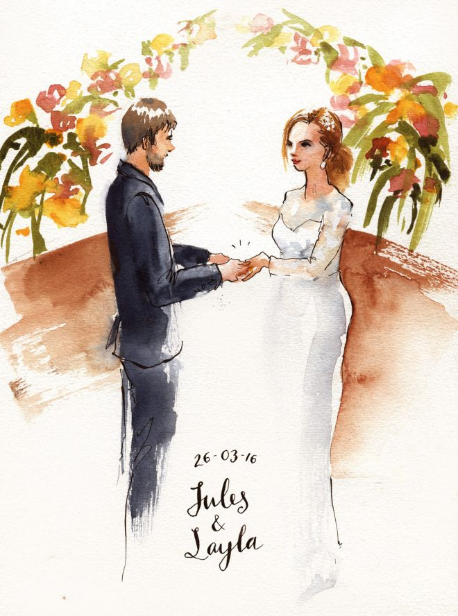 live painting of wedding ceremony uk sketch artist watercolour