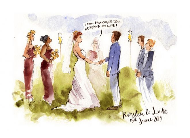 live painting of wedding ceremony uk artist watercolour sketch