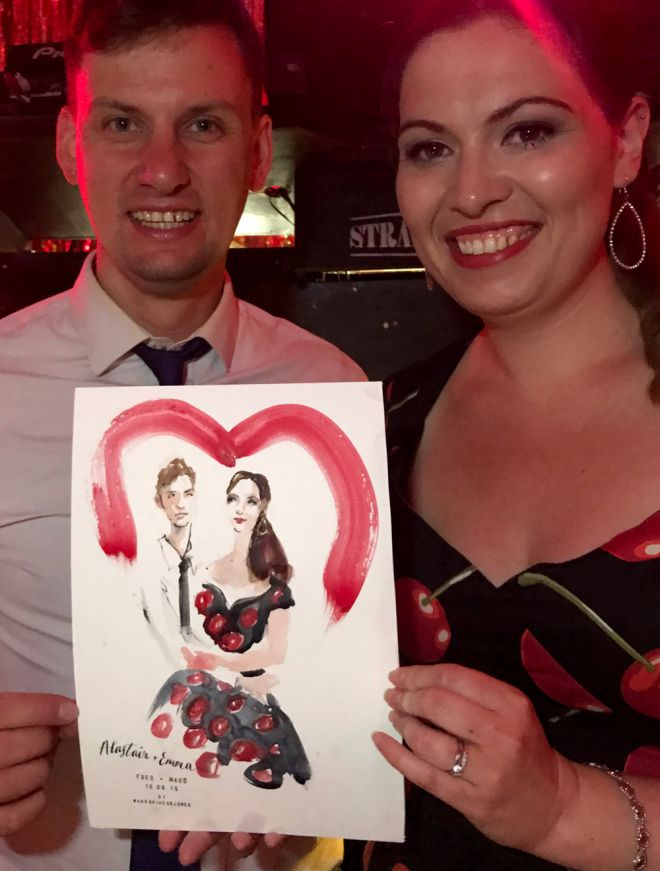 live illustrator wedding guest portrait UK paintings event artist