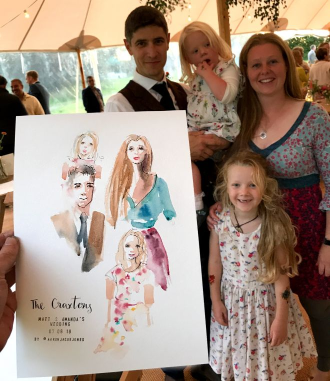 live wedding portrait illustration family of guests
