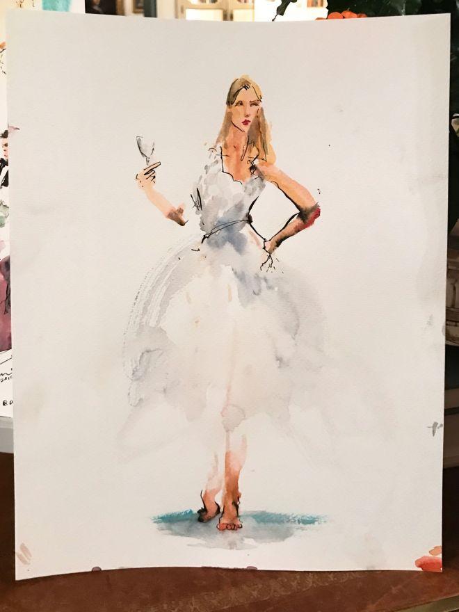 live-wedding-illustration-artist-bride-portrait-watercolour-painting