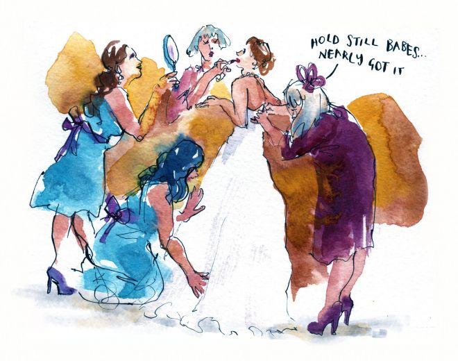 Live wedding illustration uk bridal preparation sketch drawing