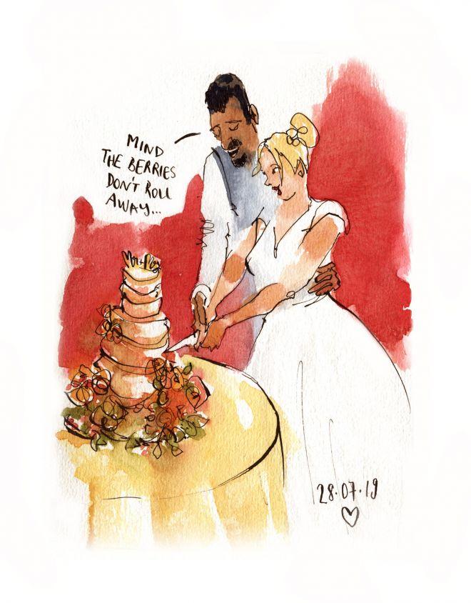live wedding illustration uk couple sketch of cutting the cake