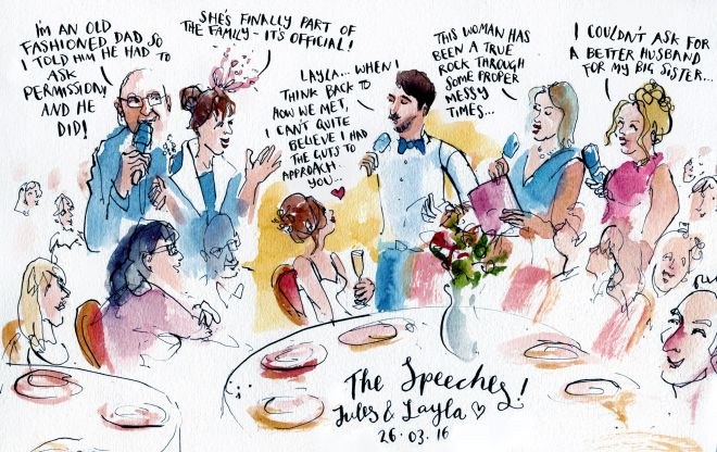 live reportage wedding illustration wedding breakfast speeches