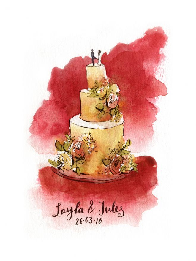 live painting of wedding cake by uk sketch artist in watercolour paint